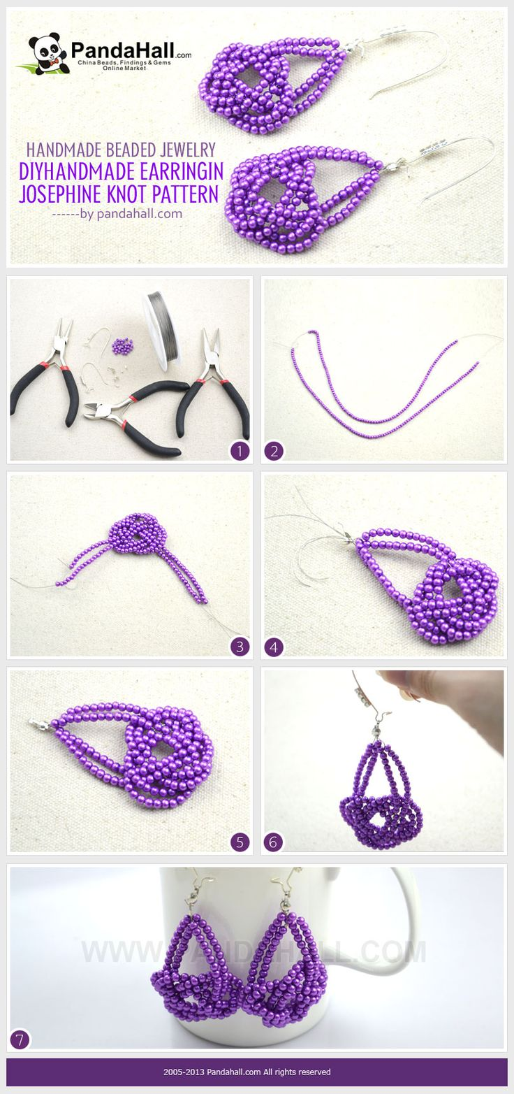 This new technique for handmade beaded jewelry is about making the Josephine knot pattern handmade earrings. It is simple to understand but needs a little of your patience to finish off.