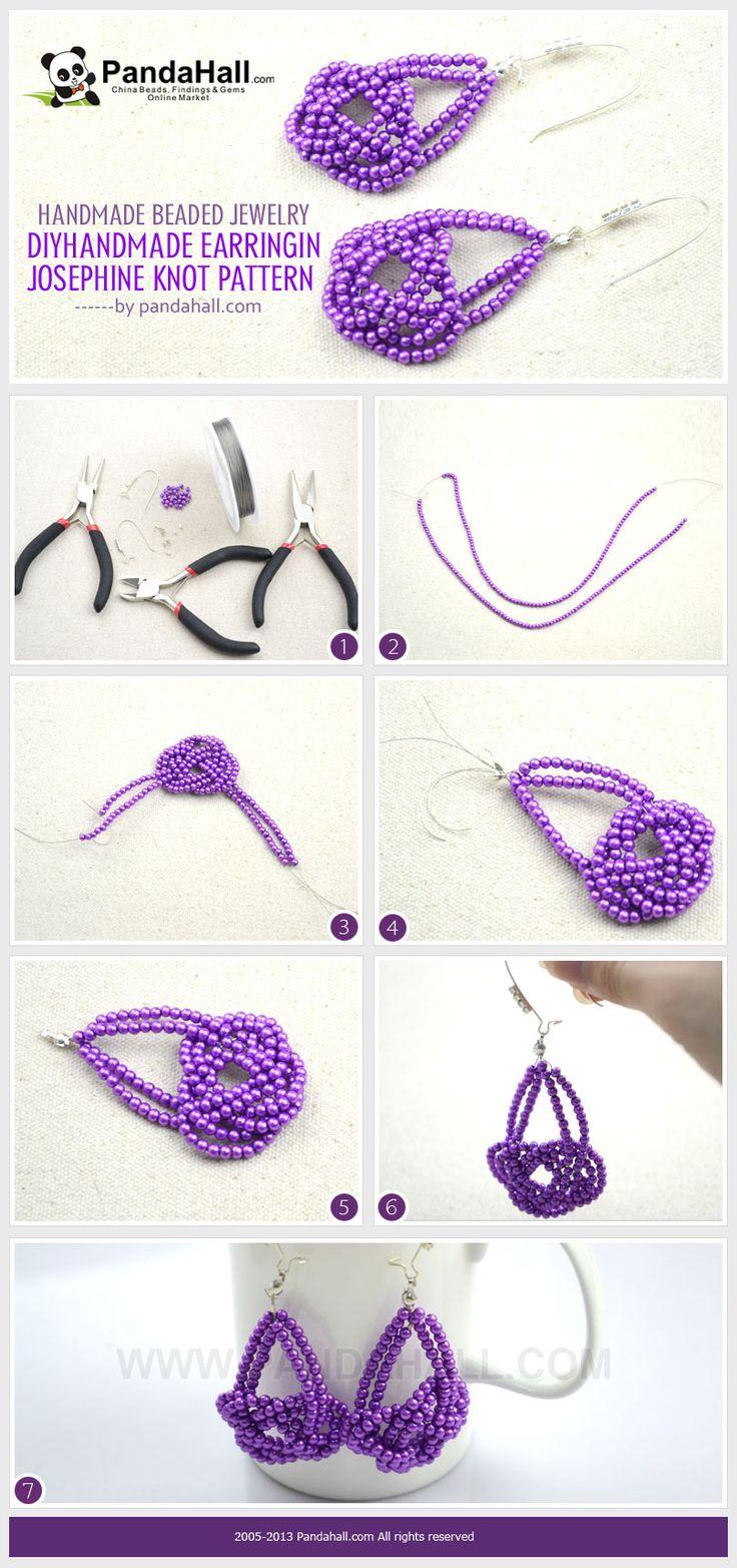Handmade beaded jewelry- DIY handmade earring in Josephine knot pattern from pandahall.com