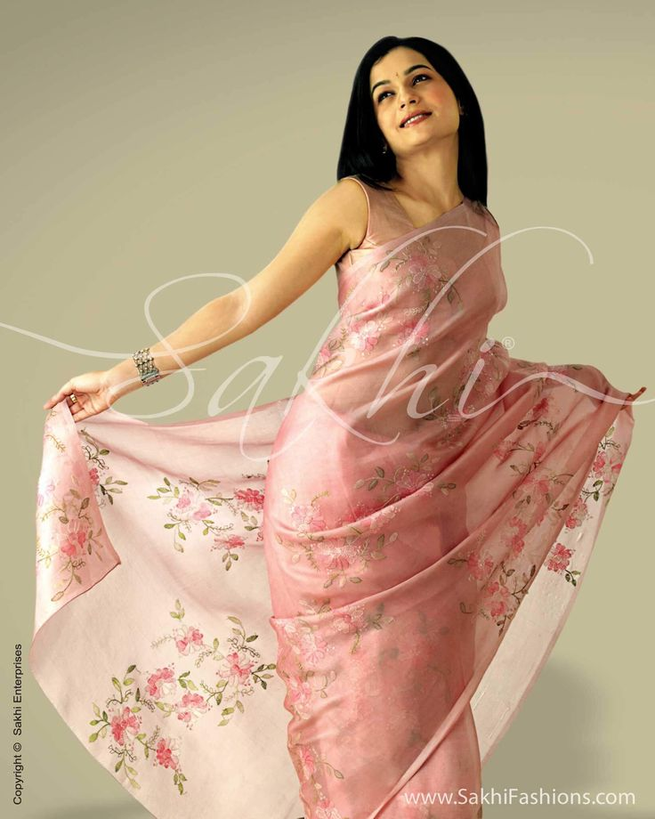 Pink & Multi Colour Organza Saree | Sakhi Fashions