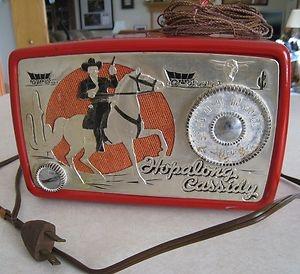 VINTAGE 1950 HOPALONG CASSIDY RED TUBE RADIO