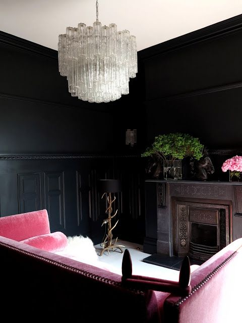 You look lovely in this light...............: Interior Design, Sofa, Living Rooms, Black Walls, Black Room, Livingroom, Pink, Park Avenue