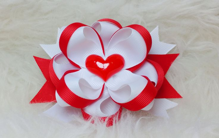 Boutique Stacked Hair Bow - Valentine's Day