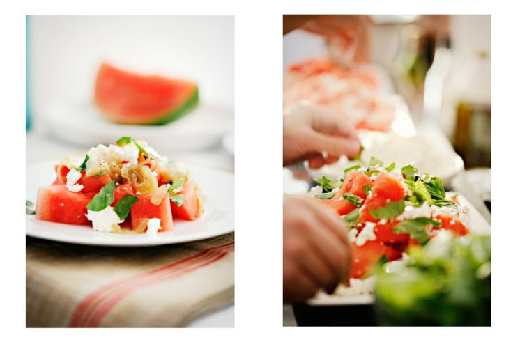 Watermelon, Feta and Basil Salad + Market Greens with Mint and ...