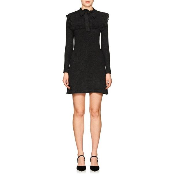 JoosTricot Women's Metallic Knit Fitted Dress (1.998.780 COP) ❤ liked on Polyvore featuring dresses, black, tight long sleeve dress, tight dresses, long sleeve fitted dress, ruffle cocktail dress and tie neck tie