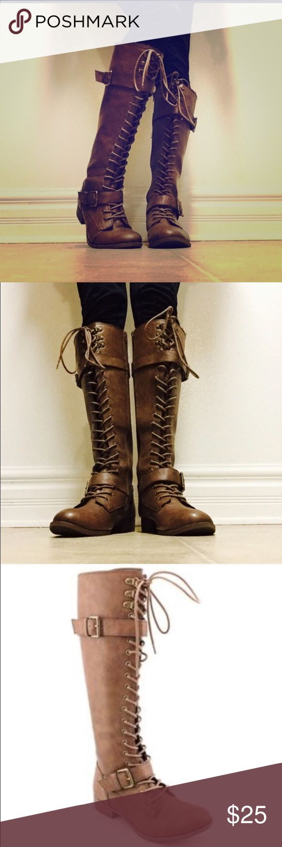 Tall lace up boots Just below the knee Rocket Dog lace up brown leather boots. Excellent condition as I only wore them a few times! Shoes Lace Up Boots