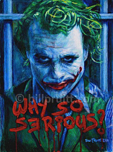 The Joker Heath Ledger the Dark Knight Batman art print 12x16 signed & dated Bill Pruitt #joker #DarkKnightMovie