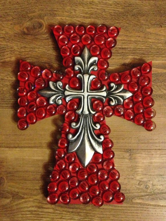 Decorated wooden cross with gems by grammieself on Etsy, $35.00