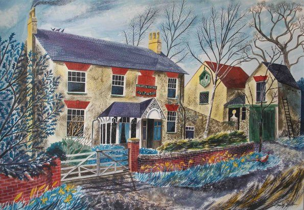 """Wigginton Cottage"" by Emily Sutton (ink and watercolour on paper)"