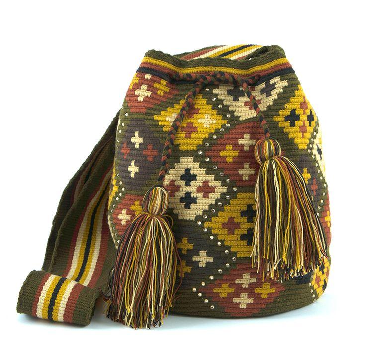 Wayúu Mochila embellished with Czech crystal stones. Shop online www.kurubaa.com. International shipping available