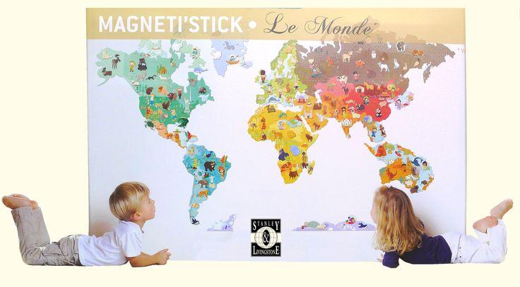 Stanley & Livingstone reisgidsen en landkaarten reisboekhandel globewinkel wereldkaartenwinkel : Magnetische kinderwereldkaart voor op de muur [magnetisch]