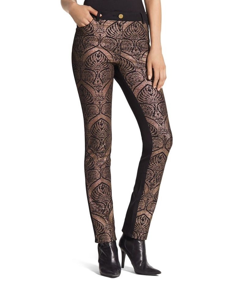 Chico's Women's Gold Jacquard Straight-Leg Pants, Multi, Size: