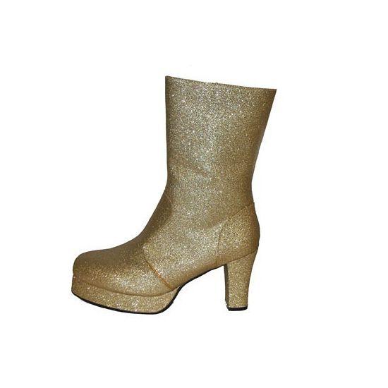 Gouden glitter laarsjes. Deze gouden glitter laarsjes zijn echte disco outfit laarsjes! De gouden glitter laarsjes komen tot net iets boven uw enkel en hebben een hak van ongeveer 5 cm. Een echte disco diva word u pas met deze laarsjes.