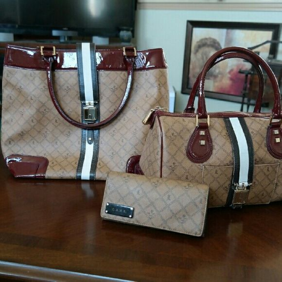 L.A.M.B SET Beautiful set. Tote: great condition. Purse: great condition. Wear on white flap. Wallet: used for a week. Excellent condition.  Will post additional pics upon request. L.A.M.B. Bags Totes