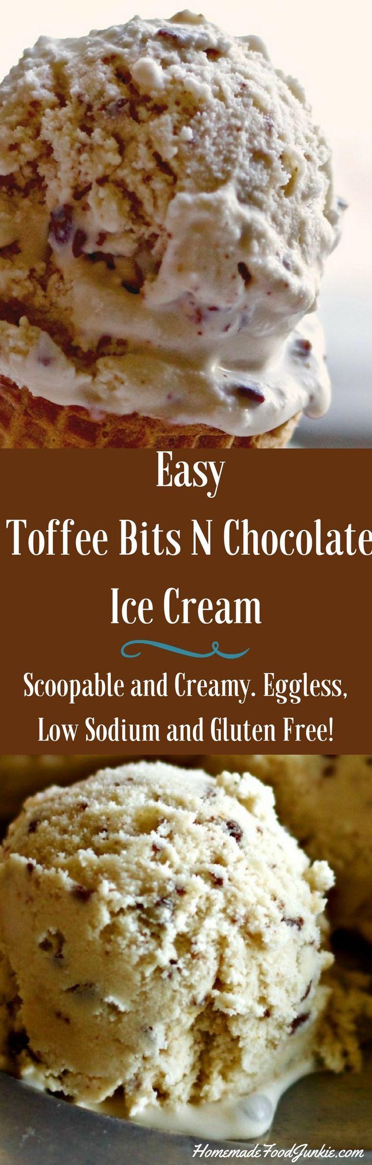 Easy Toffee Bits N Chocolate Ice Cream Recipe isQuick N easy low sodium, eggless…