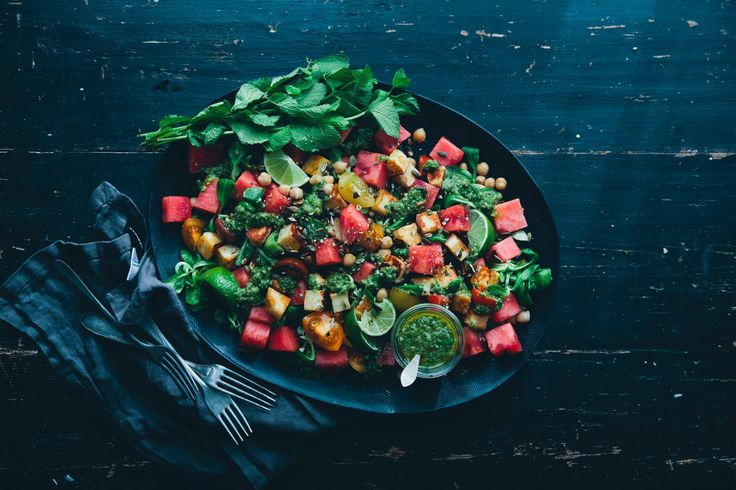 Watermelon & Halloumi Salad with Magic Green Sauce
