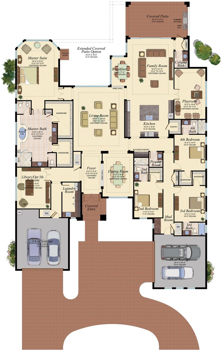 *** I don't think there is anything I don't like about this - except a bigger front porch & tweek the kitchen a smidge.***WINDSOR / 910 Empire Collection 4 Bedrooms, 4 Full Baths, 2 Half Baths, Library/Optional 5th Bedroom, Play Room, 4-Car Garage 4,734 a/c sq. ft - 6,116 total sq. ft
