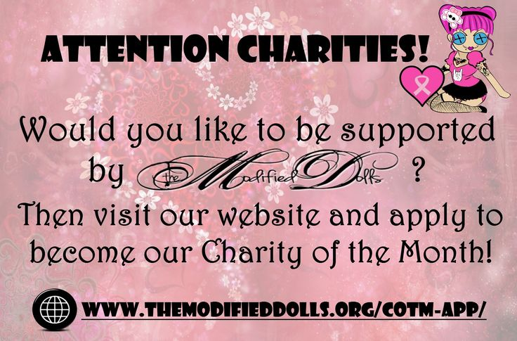 If you know or work for a registered #charity and would like to be supported by our organization, visit our website and #apply to become our 'Charity of the Month'. http://www.themodifieddolls.org/cotm-app/ #ModifiedDolls #NonProfit #SupportingCharities #fundraising #RaisingAwareness #volunteering #MakingADifference #CharityOfTheMonth