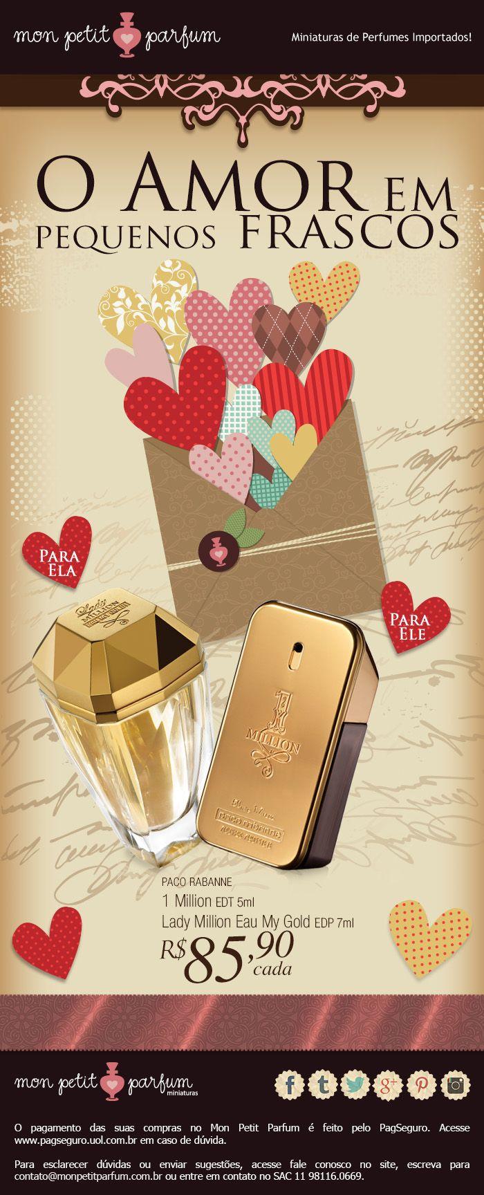 DIA DOS NAMORADOS Perfumes em Miniatura - O Amor em pequenos frascos