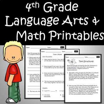 4th Grade Language Arts and Math Printables Bundle – Use for the Complete Yr