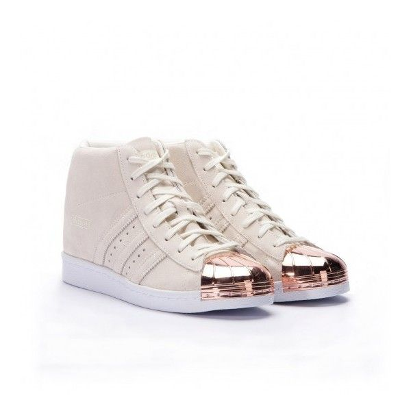 """Adidas Superstar Up """"Metal Toe"""" (Off White Copper) ($145) ❤ liked on Polyvore featuring shoes, vintage white shoes, adidas, wide shoes, adidas shoes and adidas footwear"""