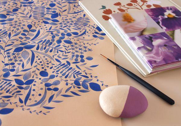 giochi di carta: Illustrazione botanica blu Botanical blue illustration