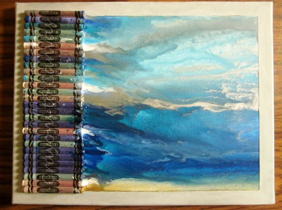 Melted Crayon Art- Sea Scape, Small plus gift