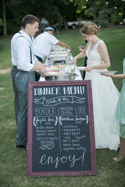 chalkboard dinner menu | Caroline Joy #wedding LOVE THIS.