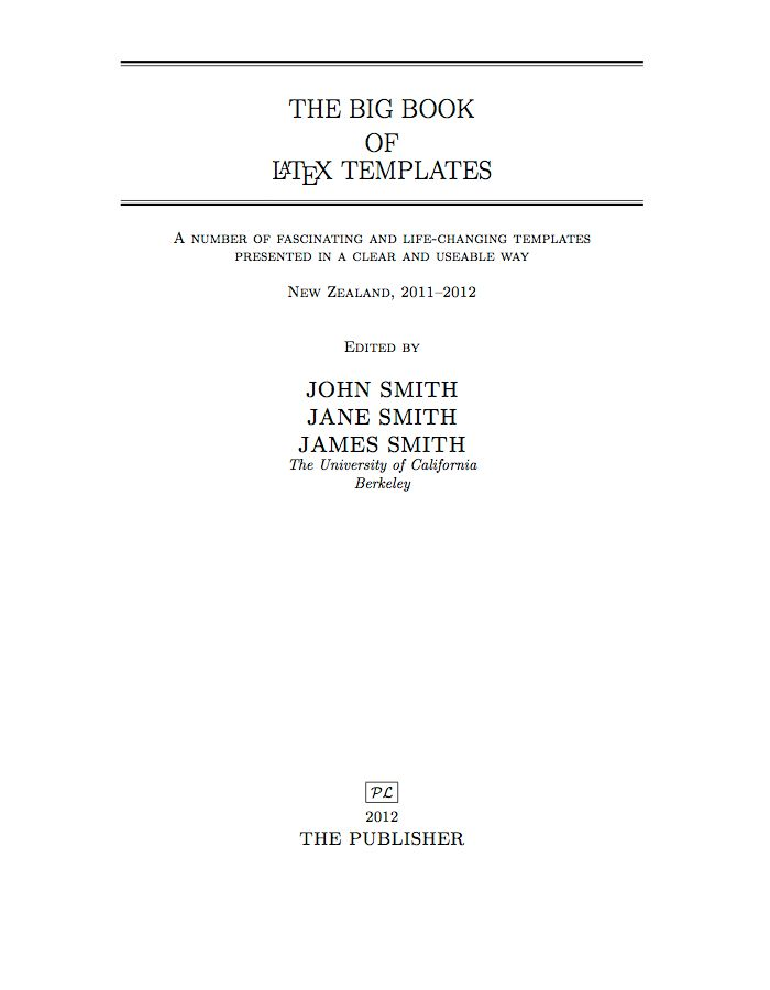 book title page template