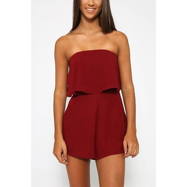 Yoins Off The Shoulder Playsuit with Layered Details in Burgundy (1,045 PHP) ❤ liked on Polyvore featuring jumpsuits, rompers, black, jumpsuits & rompers, off shoulder jumpsuit, boho jumpsuit, off the shoulder jumpsuit, burgundy jumpsuit and playsuit jumpsuit