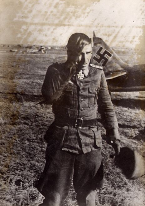 """Hauptmann Nowotny, the world's most successful fighter pilot. After his 250th aerial victory: headaches? Yes, its a bit much! It was a lot of air combat manoeuvring. """" Eastern Front, 14 October..."""
