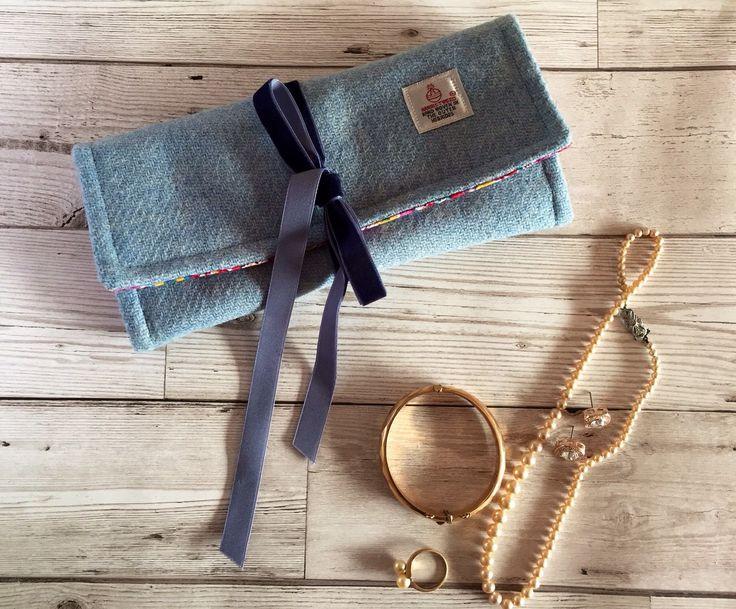 Stylish Blue Harris Tweed Jewellery Roll keeps all your jewellery safely stored #xmasgiftforher #jewelerrycase #jewelryroll