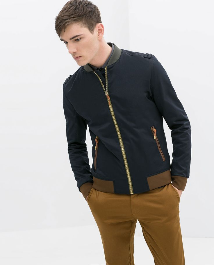 Image 4 of JACKET WITH CONTRASTING RIBBING from Zara