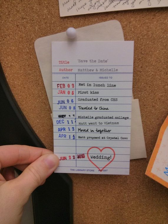 Check out this save the date idea, featuring a library card | WEdueDATES / Etsy