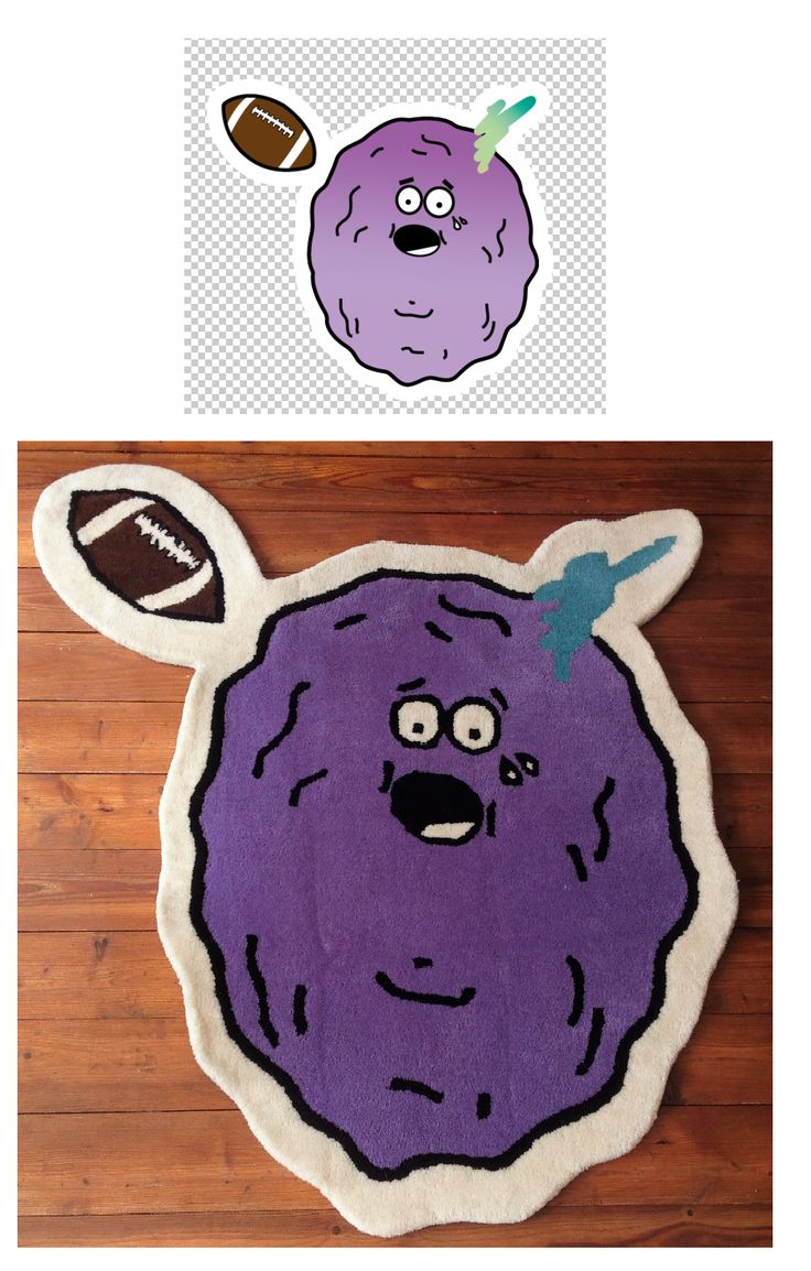 Custom Irregular-Shaped Purple Rug with Football, by Rug Your Life. Handmade in India and Nepal. Company based in Hong Kong. Worldwide delivery - #rugyourlife #customhandmaderugs #irregularshapedrug #designerrug #funrug #designyourrug  #letsweaveaboutit #bespokerugs #luxuryrugs #customrugs #customcarpets #bespokecarpet #floorart #interiordecor #interiorstyling #homedecor #homedecoration #tibetanrugs #hometextiles #handmaderugs #rugs #carpets