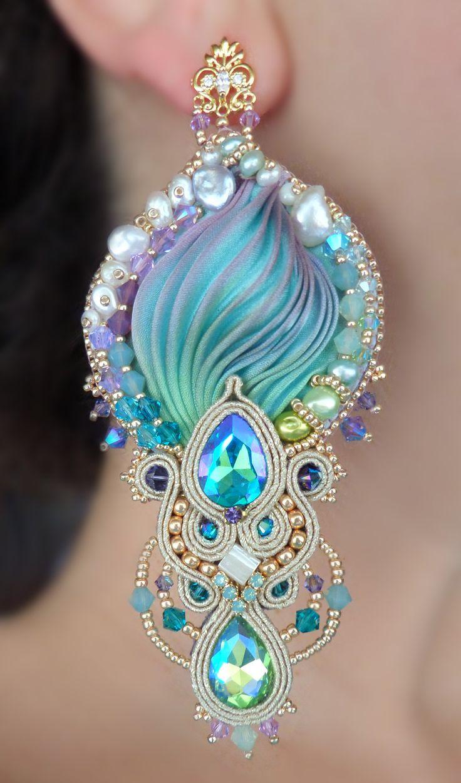 """""""REGINA"""" Earrings - Designed by Serena Di Mercione - Beadembroidery and Soutache - Shibori silk, Swarovski and pearls."""