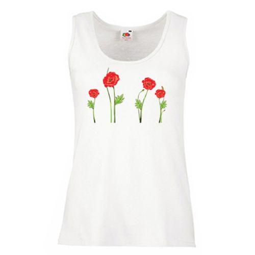 Acest tricou te duce cu gandul la o iesire in natura, pe un camp cu maci.  Tricoul sau maieul este decorat cu maci rosii.
