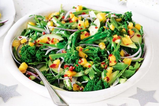 For a dish that's packed full of flavour you can't beat this gorgeous broccolini, asparagus and rocket salad topped with fresh mango, chili and coriander. Best of all it only takes 15 minutes to make!