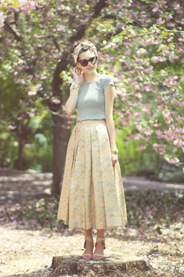 Emilee Anne wearing Zara Striped Crop Top // Vintage Brocade Skirt // Jeffrey Campbell Sandals // Oliver Goldsmith Manhattan Sunglasses // Hermes Vintage Skirt
