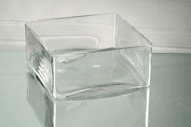 "Cheap square Glass Bowls | 12""x4""H Square Block Clear Glass Vases Wholesale Vase 