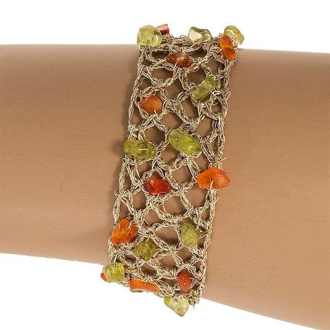 Handmade Gold Plated Knitted Bracelet with Carnelian & Agate Stones