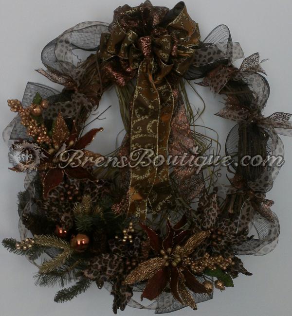 wreath, deco mesh, cheetah wreath