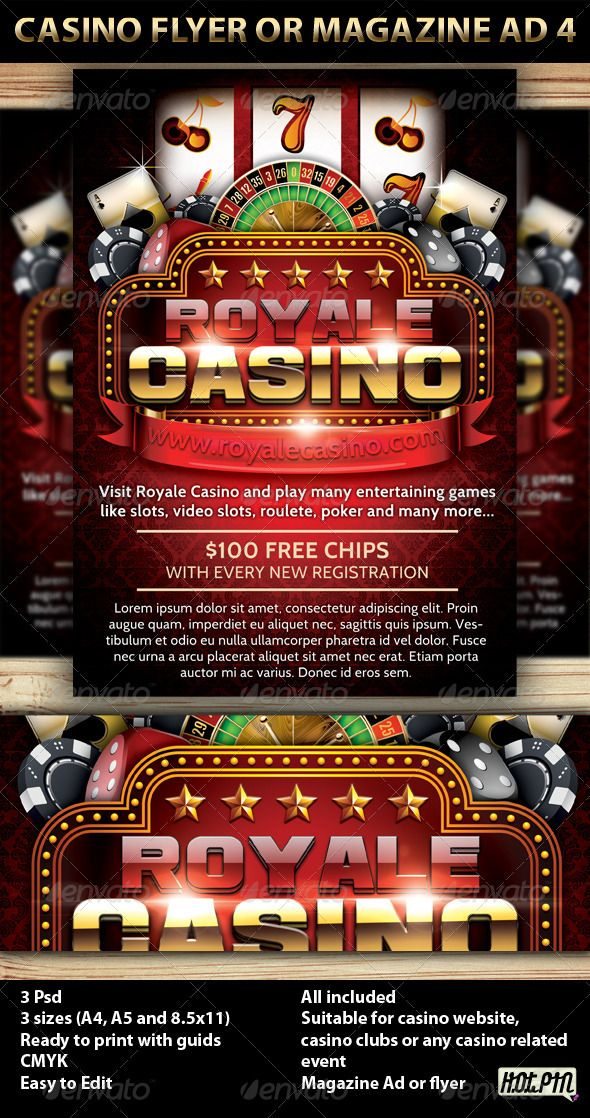 Casino Magazine Ad or flyer is a modern psd template and perfect promotion for any Casino website, casino club, or casino event.  3 PSD files 3 sizes (A4,A5 and 8.5×11inch) including bleeds and guides CMYK Print ready 300 DPI Easy named layers for better editing