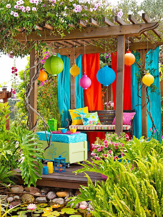 a bright color medley in an outdoor oasis