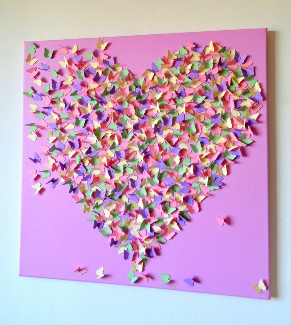 Pastel+Perfection++3D+Butterfly+Heart++Art++Modern+by+RonandNoy,+$210.00
