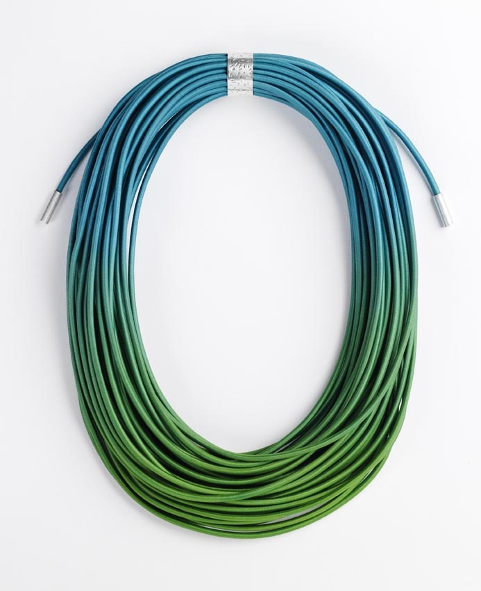 Ombre Greeny blue coil necklace