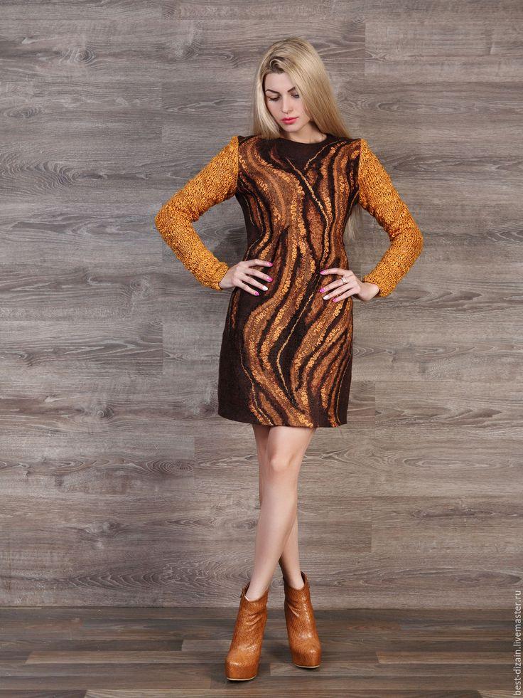 """Купить Платье """"Осенняя феерия"""" - коричневый, валяное платье, платье валяное, повседневное платье"""