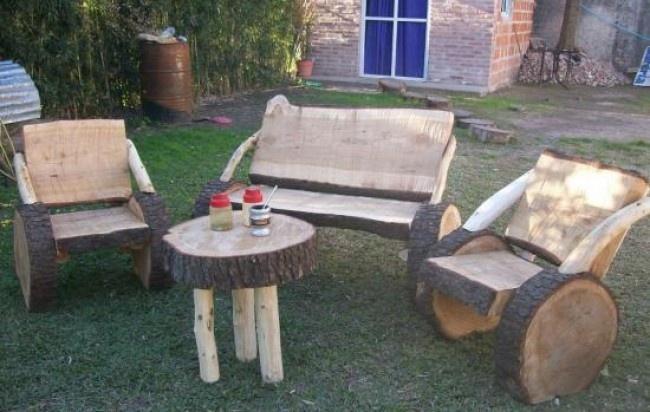 Juego de muebles rusticos echos en tronco de pino j q - Muebles de pino rusticos ...