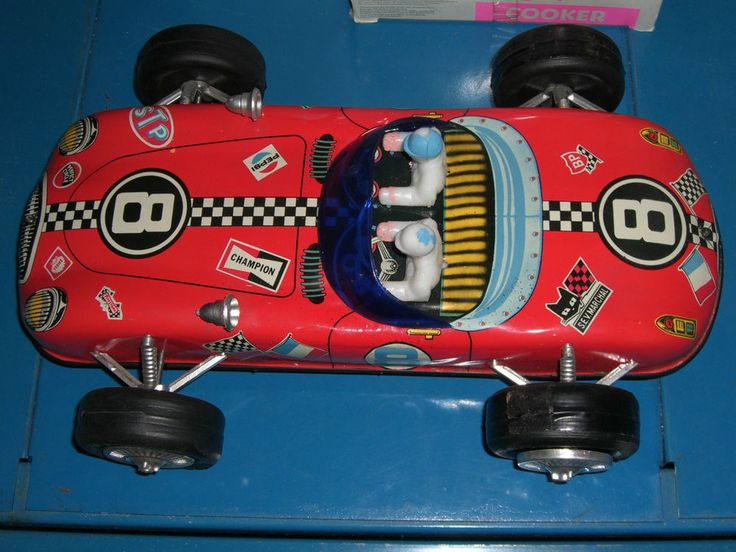 70S' VINTAGE GREEK WIND UP TIN TOY RACE CAR LYRA MINT CONDITION
