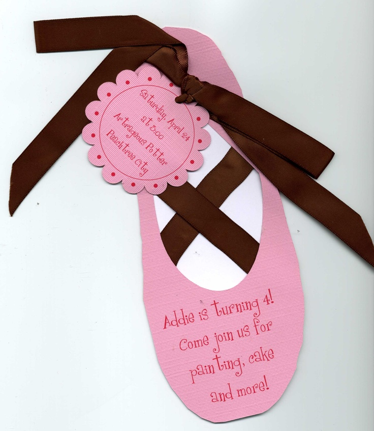Ballet Shoe Birthday Invitation