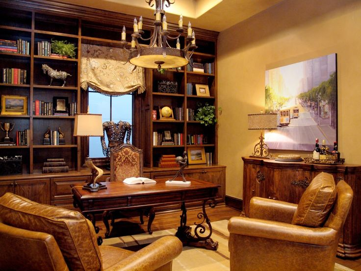 Masculine Home Office With Built In Bookcases Worn Leather Chairs